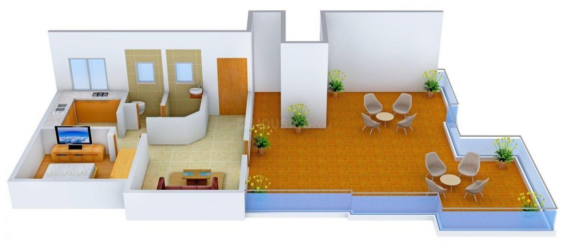 Floor Plan Image of 0 - 855 Sq.ft 1 BHK Apartment for buy in Rushika Nirman