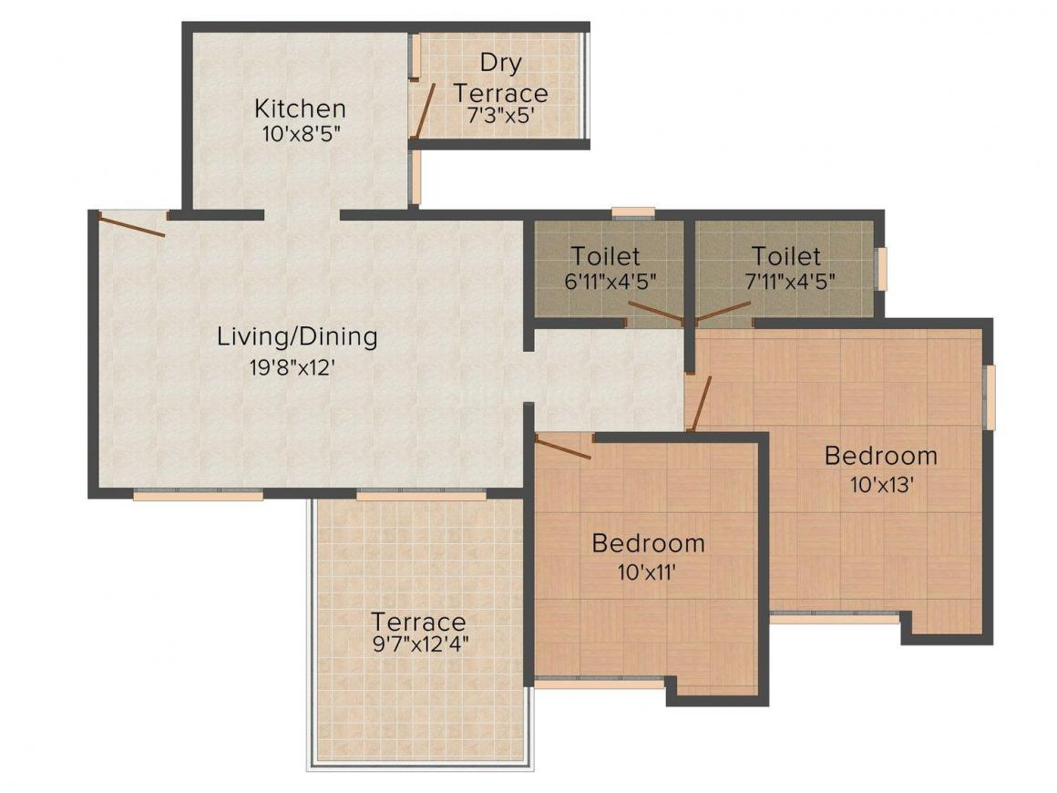 Floor Plan Image of 997 - 1027 Sq.ft 2 BHK Apartment for buy in Surana Passiflora Avenue