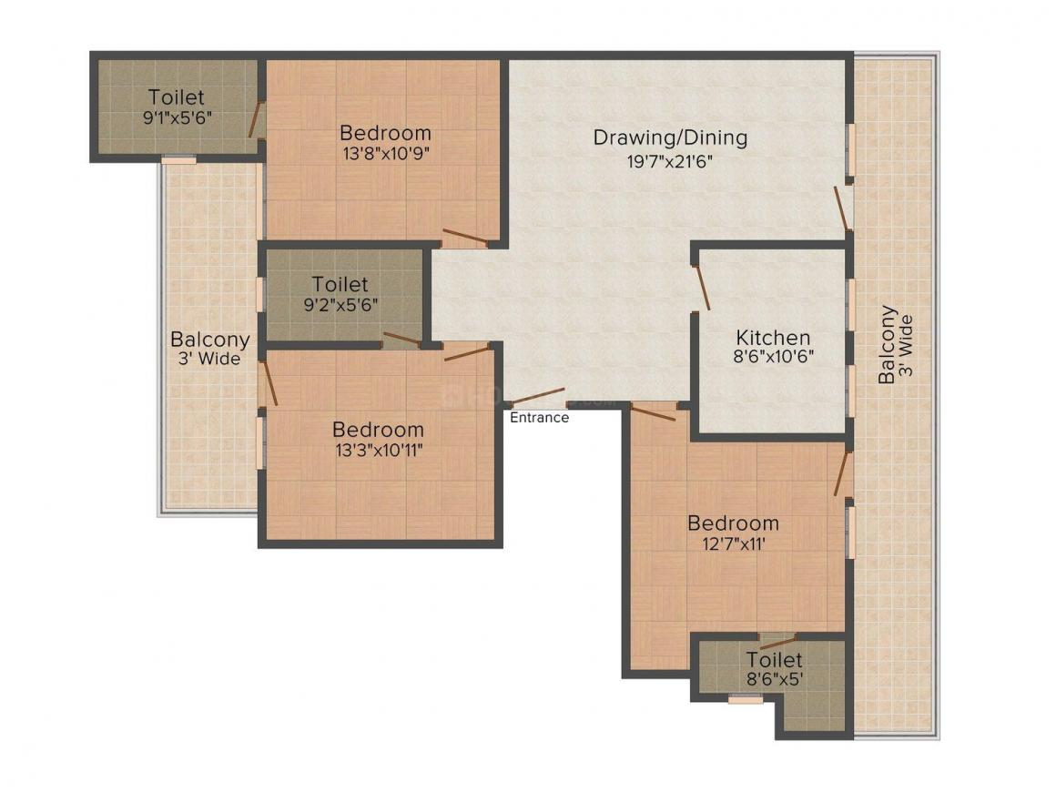 Allure Floors Floor Plan: 3 BHK Unit with Built up area of 1800 sq.ft 1