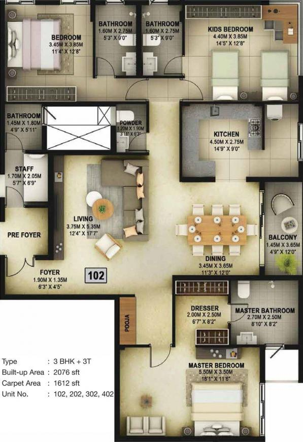 Casagrand Vitaliya Floor Plan: 3 BHK Unit with Built up area of 2076 sq.ft 1
