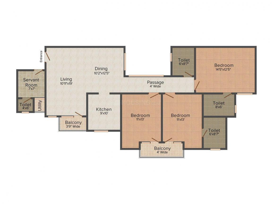 Rohtas Icon Heights Floor Plan: 3 BHK Unit with Built up area of 1755 sq.ft 1