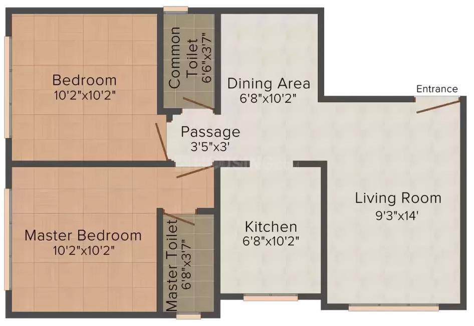 Glen Group Shiloo Mahal Floor Plan: 2 BHK Unit with Built up area of 555 sq.ft 1