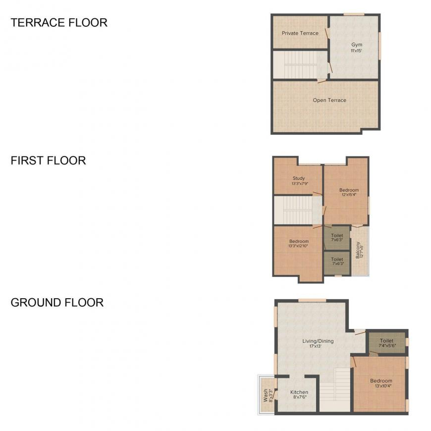 Floor Plan Image of 2030 - 2483 Sq.ft 4 BHK Villa for buy in Orchid Blossoms