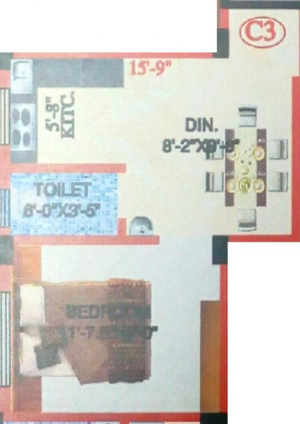 M A H Jai Ganesh Apartment 4 Floor Plan: 1 BHK Unit with Built up area of 346 sq.ft 1