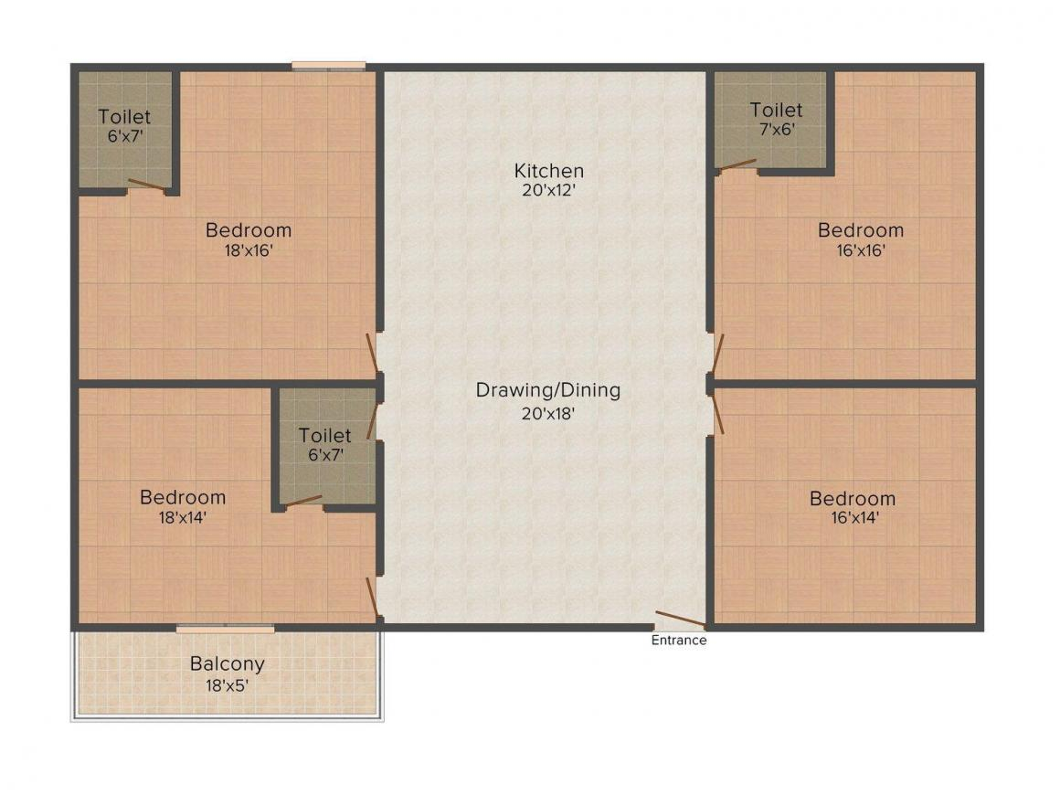 Maya Ultimo Floor Plan: 4 BHK Unit with Built up area of 1875 sq.ft 1