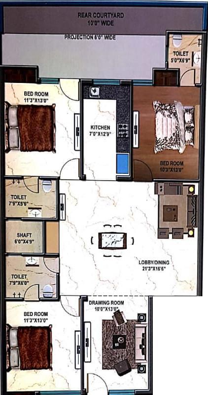 Hare Krishna Developer Krishna Home 3 Floor Plan: 4 BHK Unit with Built up area of 2250 sq.ft 1