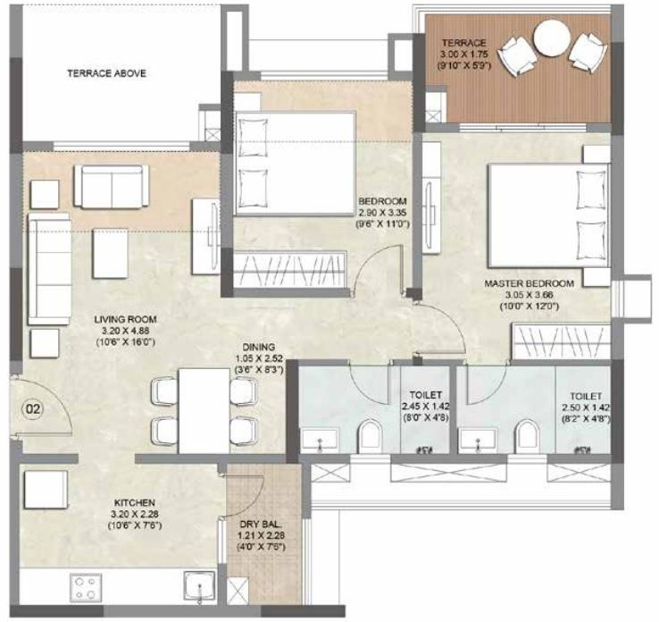 Kalpataru Serenity Floor Plan: 2 BHK Unit with Built up area of 715 sq.ft 1
