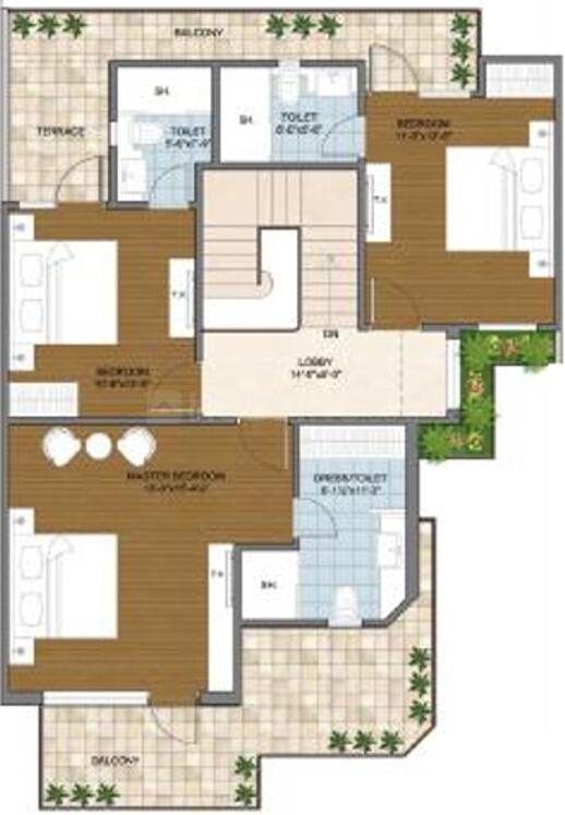 Aarone Countywalk Villa Floor Plan: 4 BHK Unit with Built up area of 2300 sq.ft 2