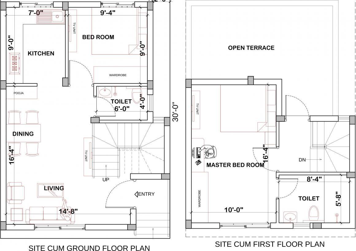 Floor Plan Image of 860 - 1450 Sq.ft 2 BHK Villa for buy in AHPL Eminence