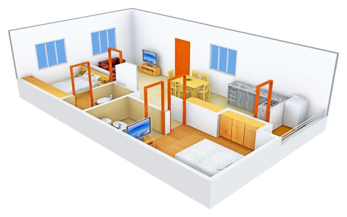 Floor Plan Image of 990.0 - 1495.0 Sq.ft 2 BHK Apartment for buy in SMR Vinay Meenakshi