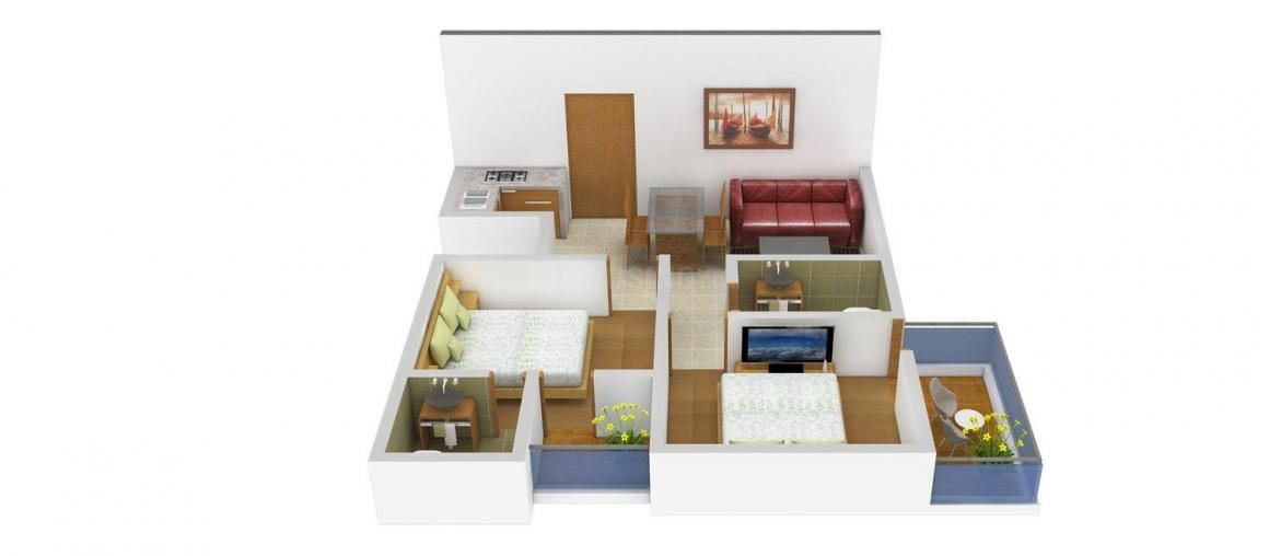 Floor Plan Image of 750.0 - 850.0 Sq.ft 2 BHK Apartment for buy in Prithvi East Avenue Grand