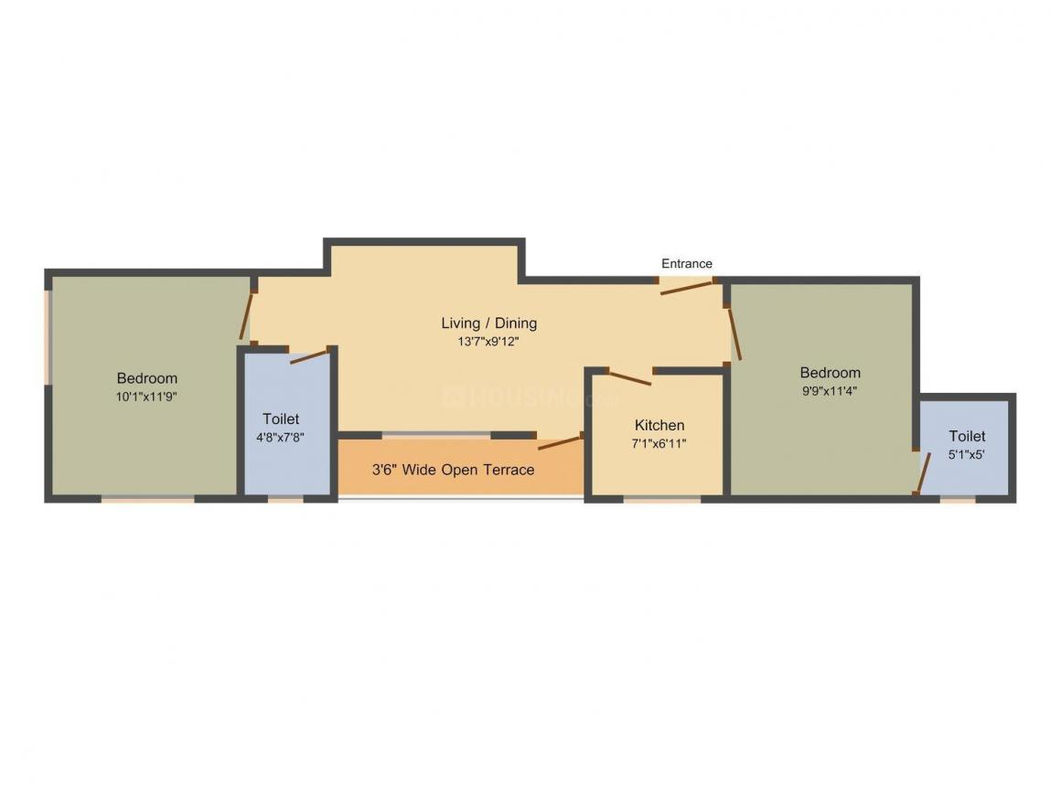 Floor Plan Image of 745 - 1195 Sq.ft 2 BHK Apartment for buy in Jaetal Tower