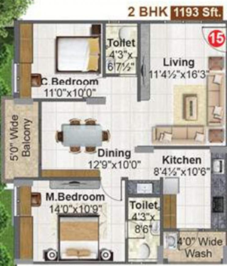 Fortune Green Mayura Floor Plan: 2 BHK Unit with Built up area of 1193 sq.ft 1