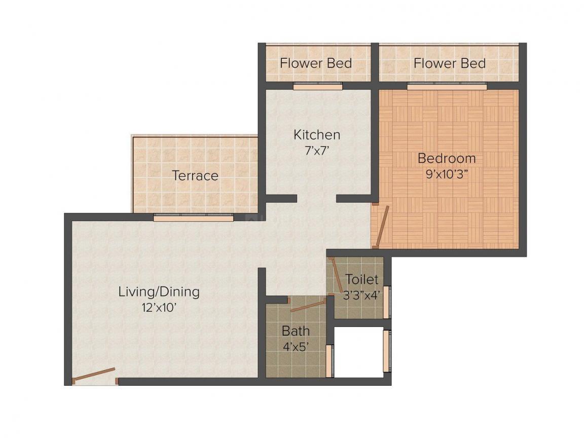 Floor Plan Image of 650 - 970 Sq.ft 1 BHK Apartment for buy in Prathmesh Empire