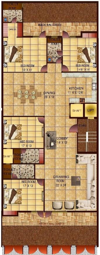 Richlook Ultra Luxurious Floor Floor Plan: 4 BHK Unit with Built up area of 4050 sq.ft 1
