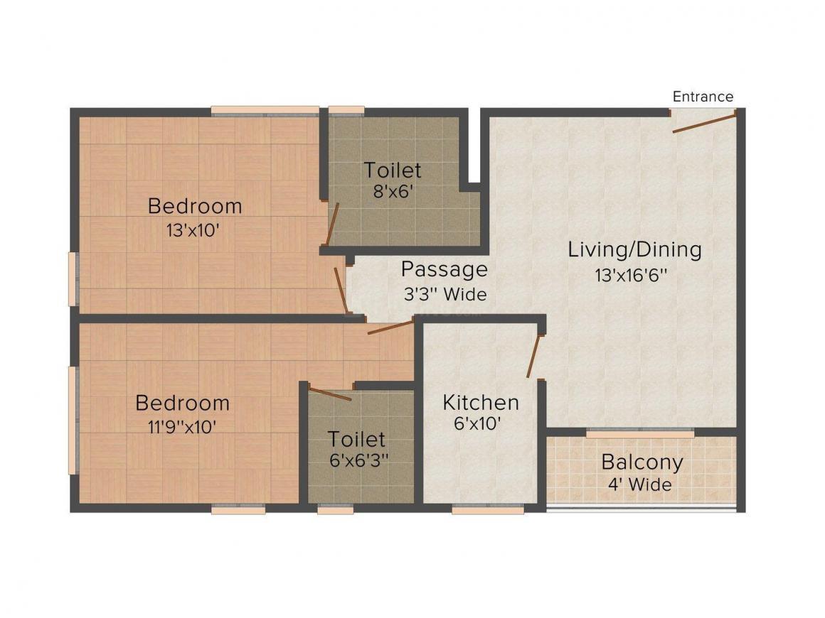 Sandhu Ekam Amarsansar Floor Plan: 2 BHK Unit with Built up area of 1091 sq.ft 1