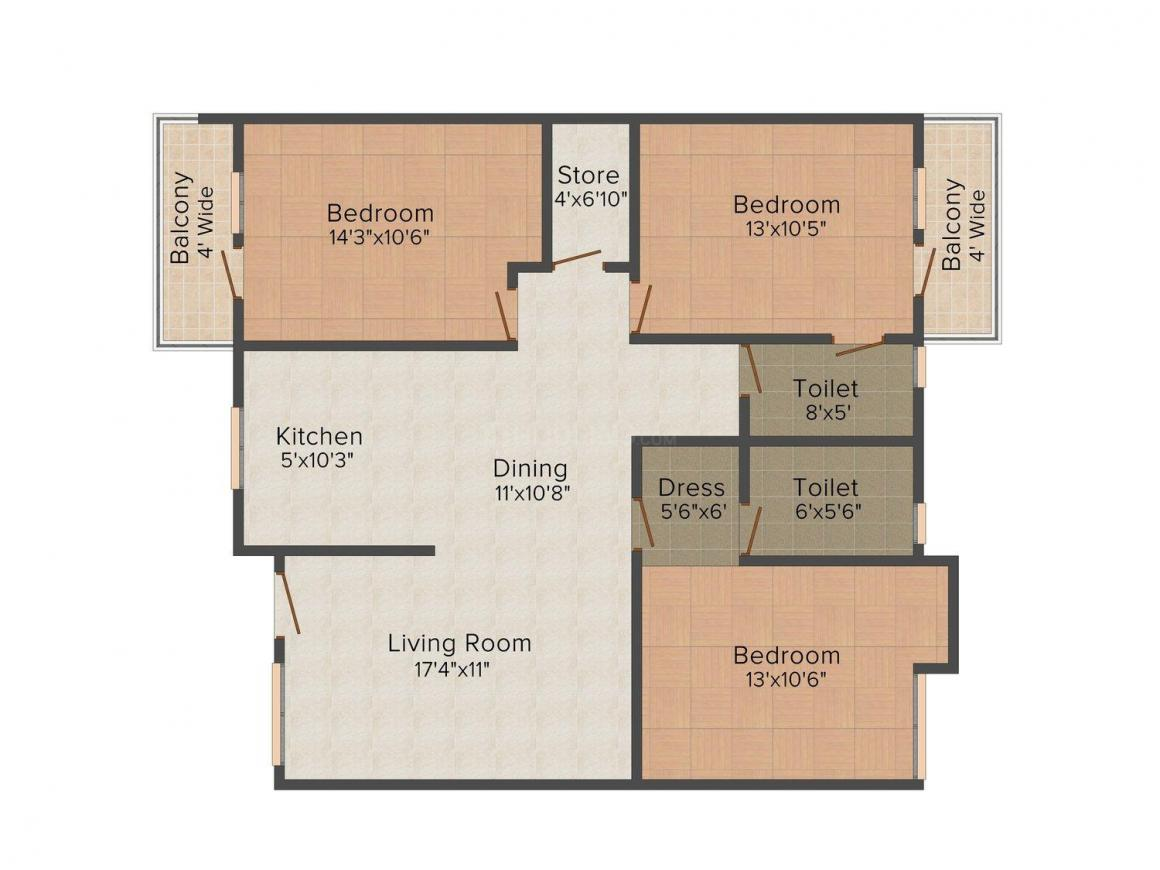 Floor Plan Image of 1675 - 1756 Sq.ft 3 BHK Apartment for buy in Evolve Princess Park
