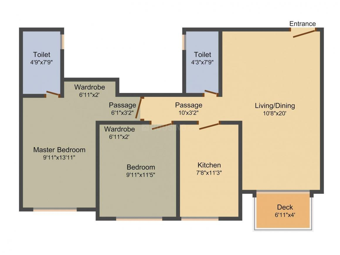 Floor Plan Image of 629.0 - 750.0 Sq.ft 2 BHK Apartment for buy in Hiranandani Castle Rock A And B Wing