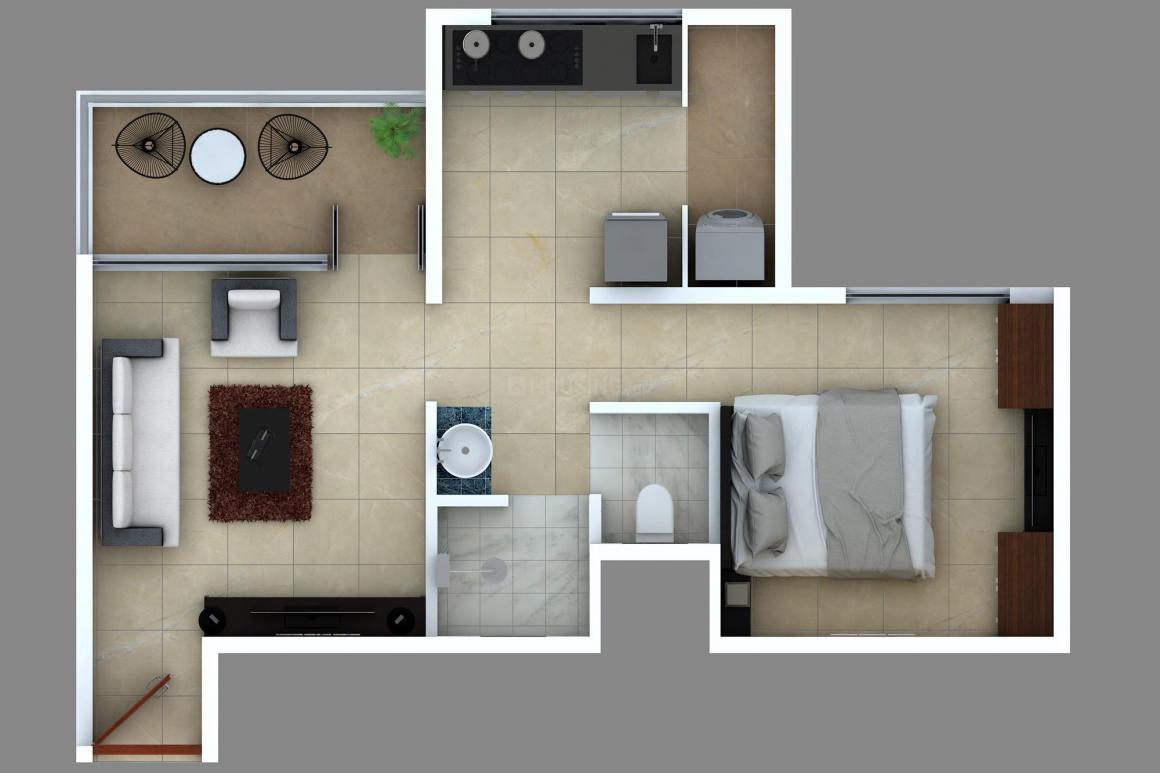 Yogville Phase I Floor Plan: 1 BHK Unit with Built up area of 438 sq.ft 1