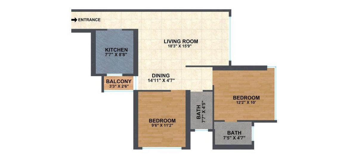 Floor Plan Image of 729.7 - 1074.13 Sq.ft 2 BHK Apartment for buy in F Residences