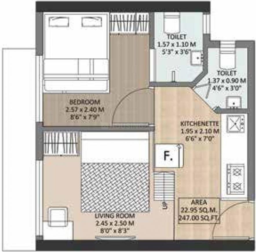 Satellite Aarambh  Floor Plan: 1 BHK Unit with Built up area of 247 sq.ft 1