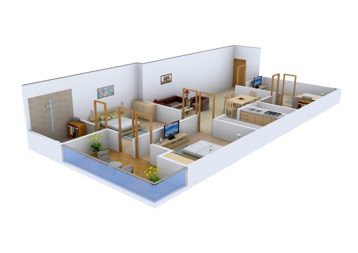 Kamra Homes Floor Plan: 3 BHK Unit with Built up area of 1350 sq.ft 1