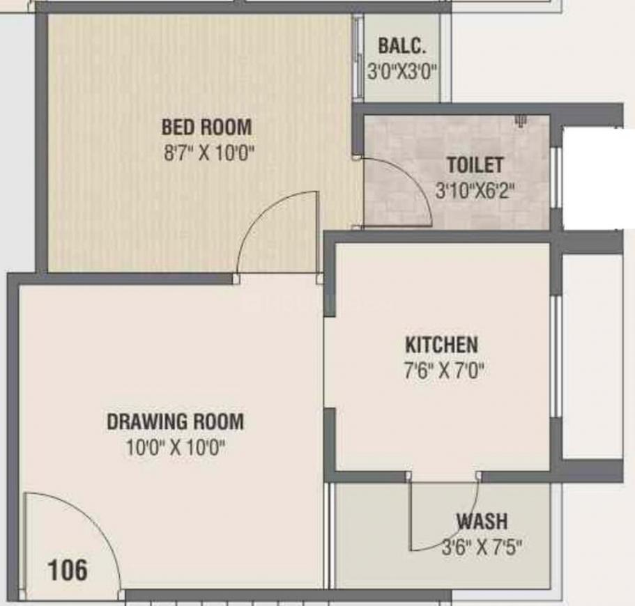 Abhilashha Residency Phase 2 Floor Plan: 1 BHK Unit with Built up area of 275 sq.ft 1
