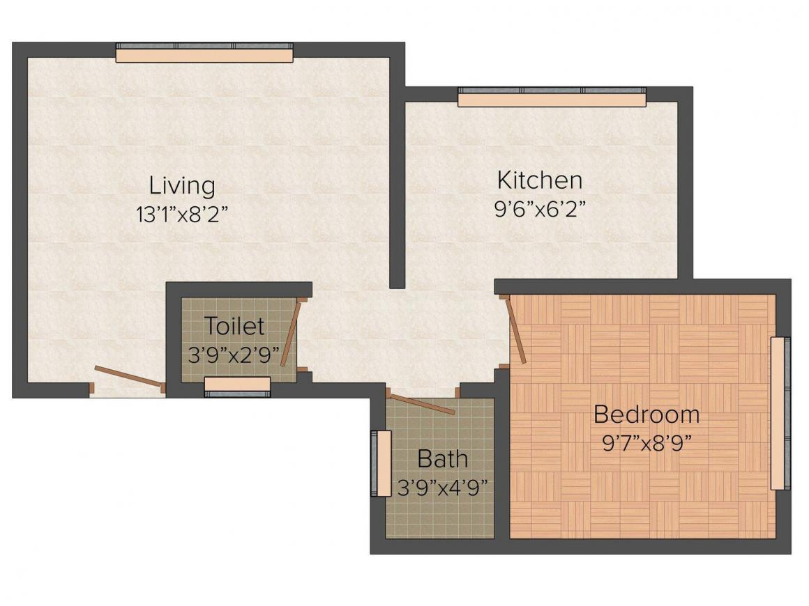 Floor Plan Image of 626 - 1000 Sq.ft 1 BHK Apartment for buy in Usha Woods