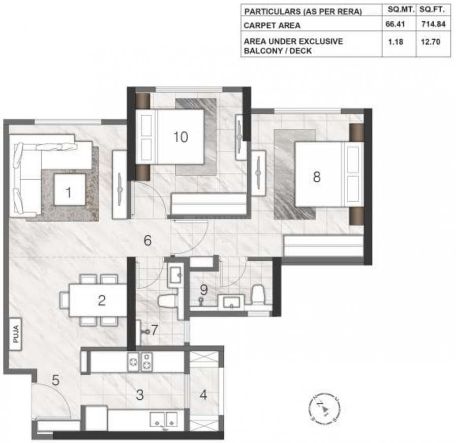 Rustomjee Summit Floor Plan: 2 BHK Unit with Built up area of 715 sq.ft 1