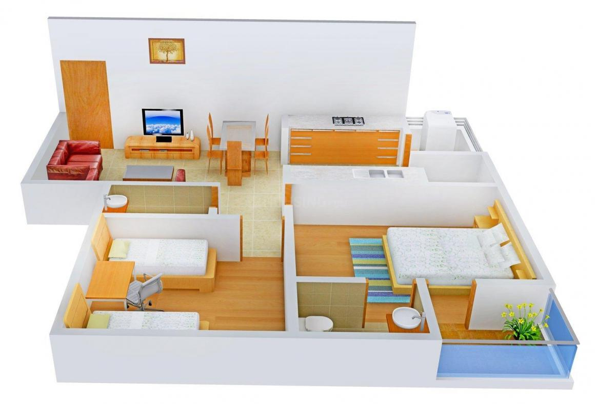 Suryam Arcade Satyamev Chavni 5 Floor Plan: 2 BHK Unit with Built up area of 1260 sq.ft 1