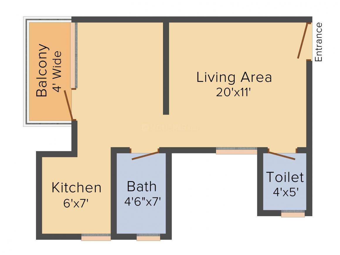 Floor Plan Image of 515 - 1285 Sq.ft 1 RK Studio Apartment for buy in Delhi West