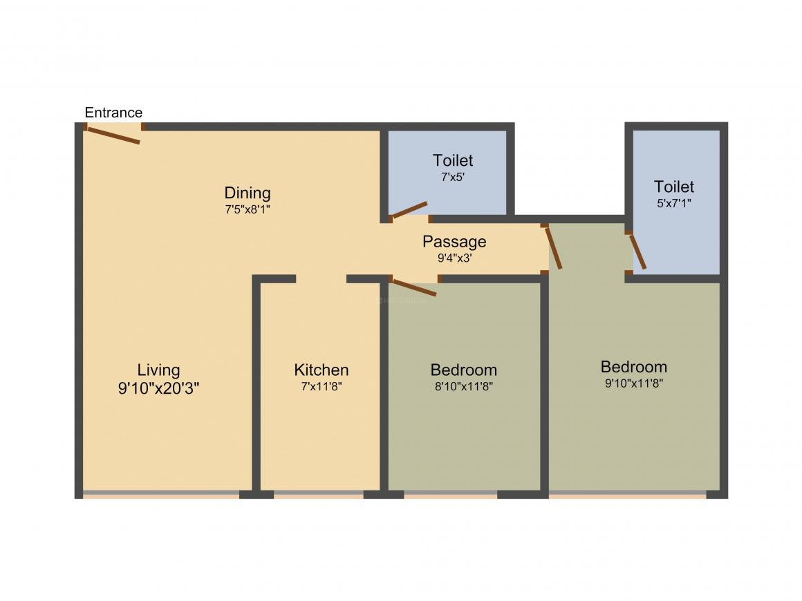 Floor Plan Image of 207.1 - 730.22 Sq.ft 1 RK Apartment for buy in Moongipa Winspace Amelio
