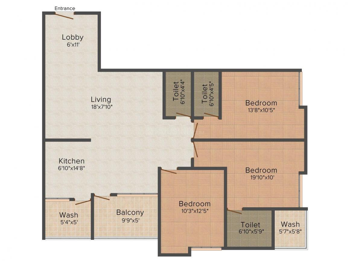 Floor Plan Image of 0 - 1785 Sq.ft 3 BHK Apartment for buy in The Gulmohar City