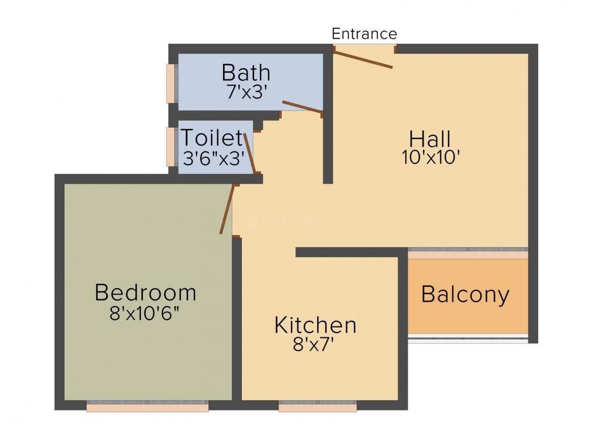 Floor Plan Image of 465.0 - 750.0 Sq.ft 1 BHK Apartment for buy in Shree Mahavir Patwa Mahavir Point