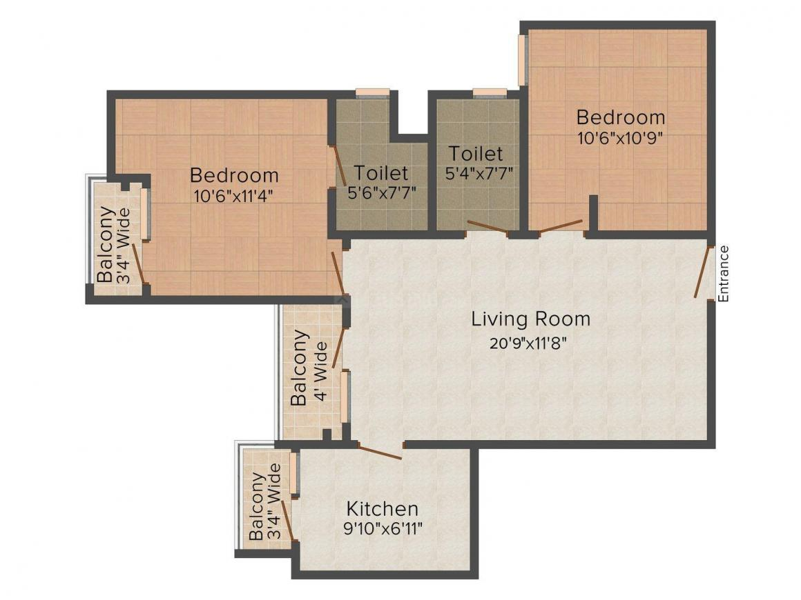 Floor Plan Image of 1063.0 - 1260.0 Sq.ft 2 BHK Apartment for buy in Tulsiani Urban Woods