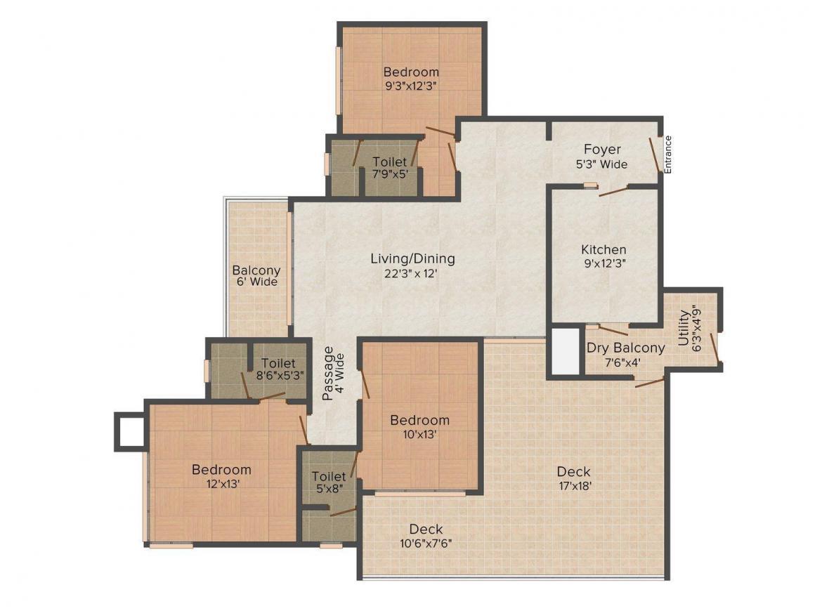Floor Plan Image of 0 - 1650 Sq.ft 3 BHK Apartment for buy in Vidhi Vinayak Garden