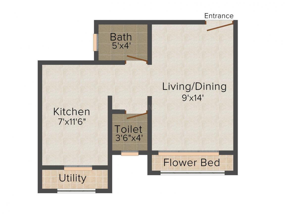 Assets Om Shree Ashtavinayak Complex Floor Plan: 1 BHK Unit with Built up area of 390 sq.ft 1