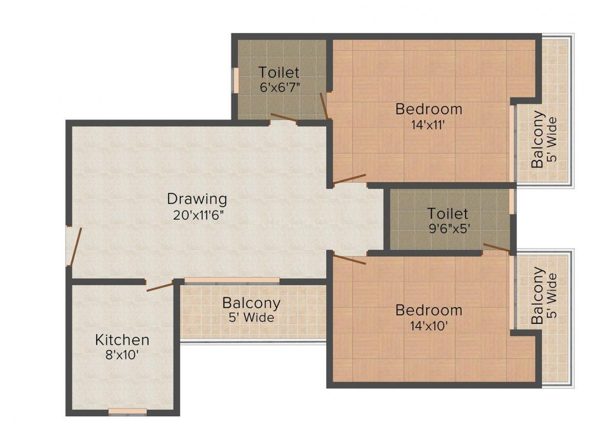 Floor Plan Image of 820.0 - 1192.0 Sq.ft 2 BHK Apartment for buy in Ritti SR Enclave