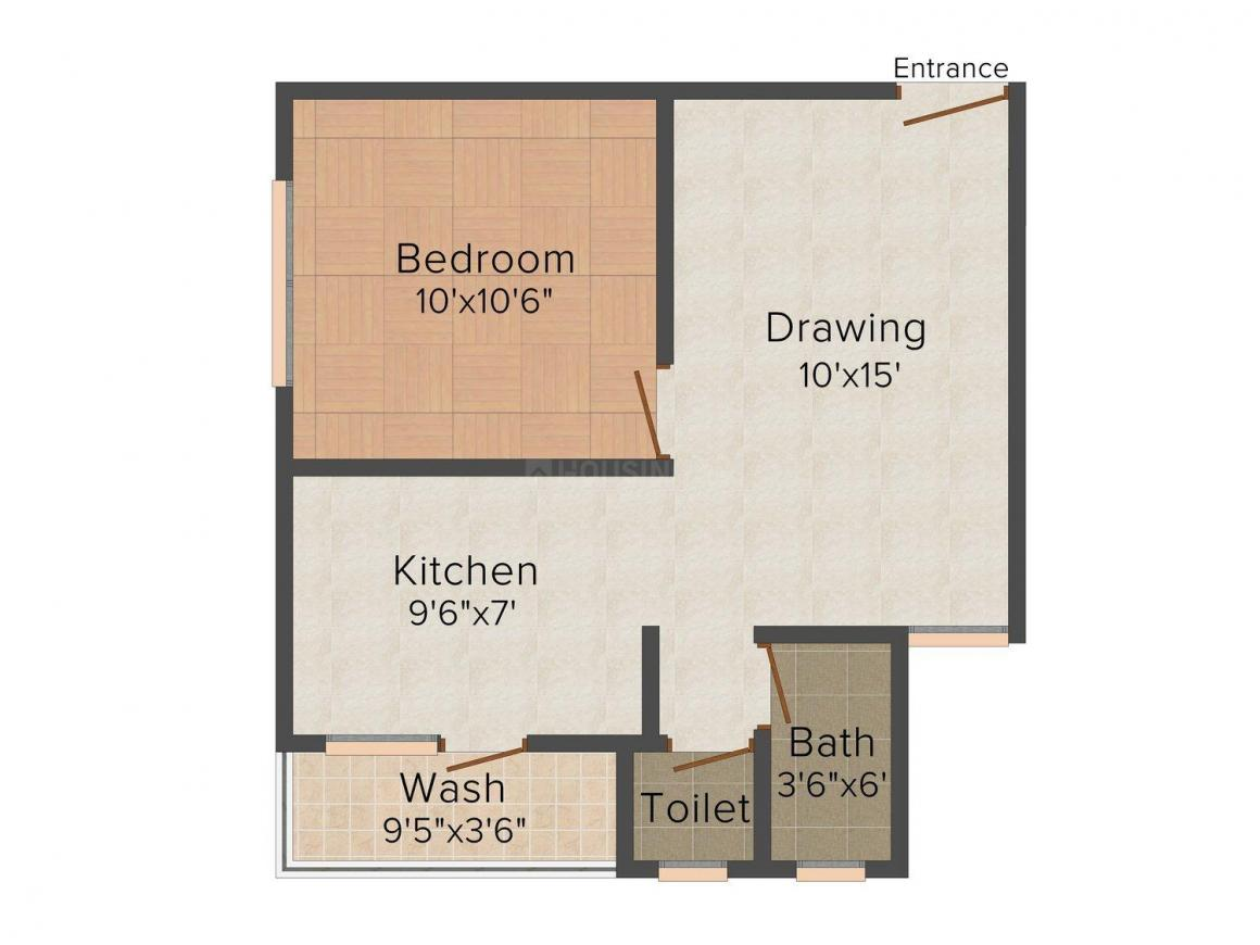 Shiv Nilkanth Residency Floor Plan: 1 BHK Unit with Built up area of 675 sq.ft 1