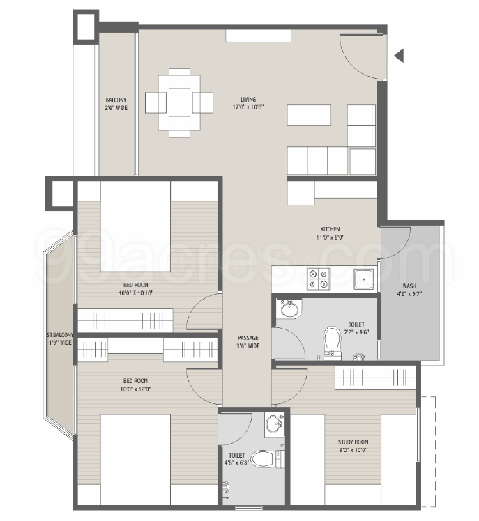 Narayan Greenwoods Floor Plan: 3 BHK Unit with Built up area of 1259 sq.ft 1
