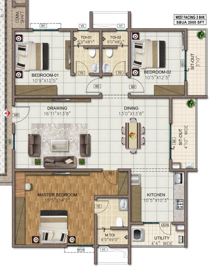 Sumadhura Horizon Floor Plan: 3 BHK Unit with Built up area of 1395 sq.ft 1