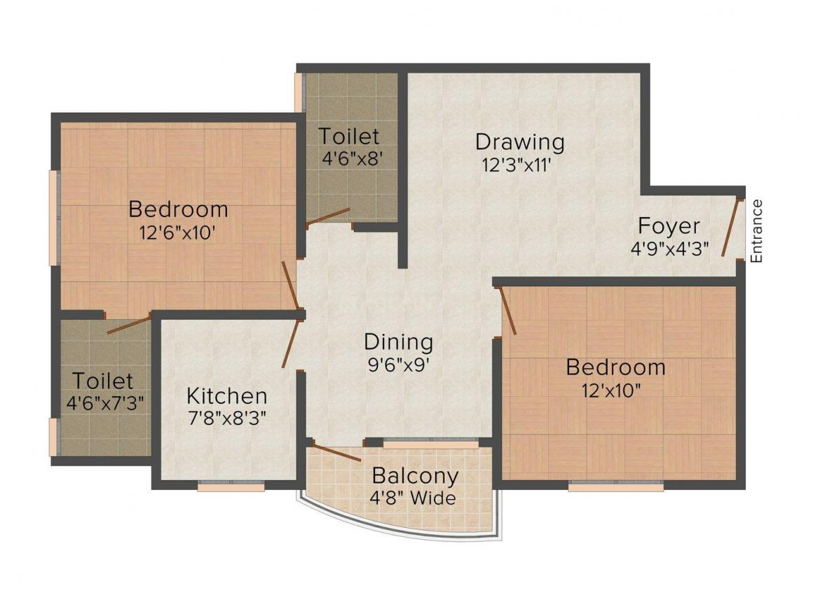 Floor Plan Image of 906 - 1369 Sq.ft 2 BHK Apartment for buy in Srinath Homes Devasthanam