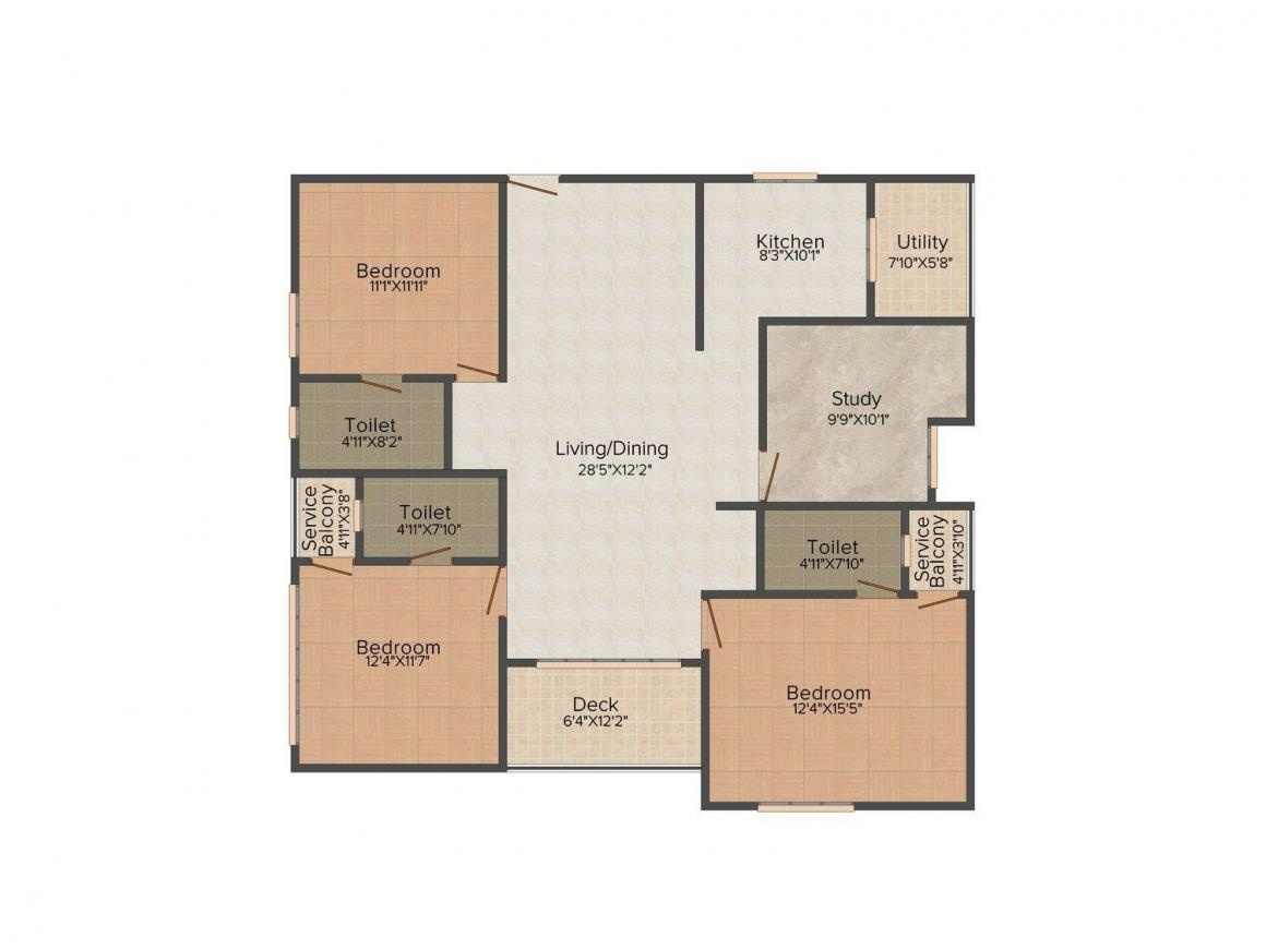 Floor Plan Image of 0 - 2121 Sq.ft 3.5 BHK Apartment for buy in Bhoomi and Buildings White Rose