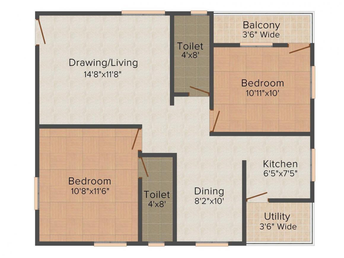 Floor Plan Image of 967.0 - 1287.0 Sq.ft 2 BHK Apartment for buy in Akiri Sri Sai Venkateshwar Residency
