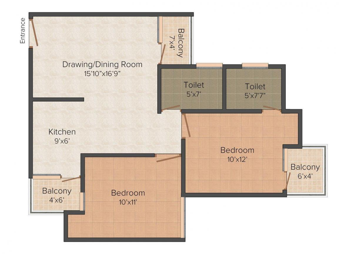 Earthcon Urban Village Floor Plan: 2 BHK Unit with Built up area of 980 sq.ft 1