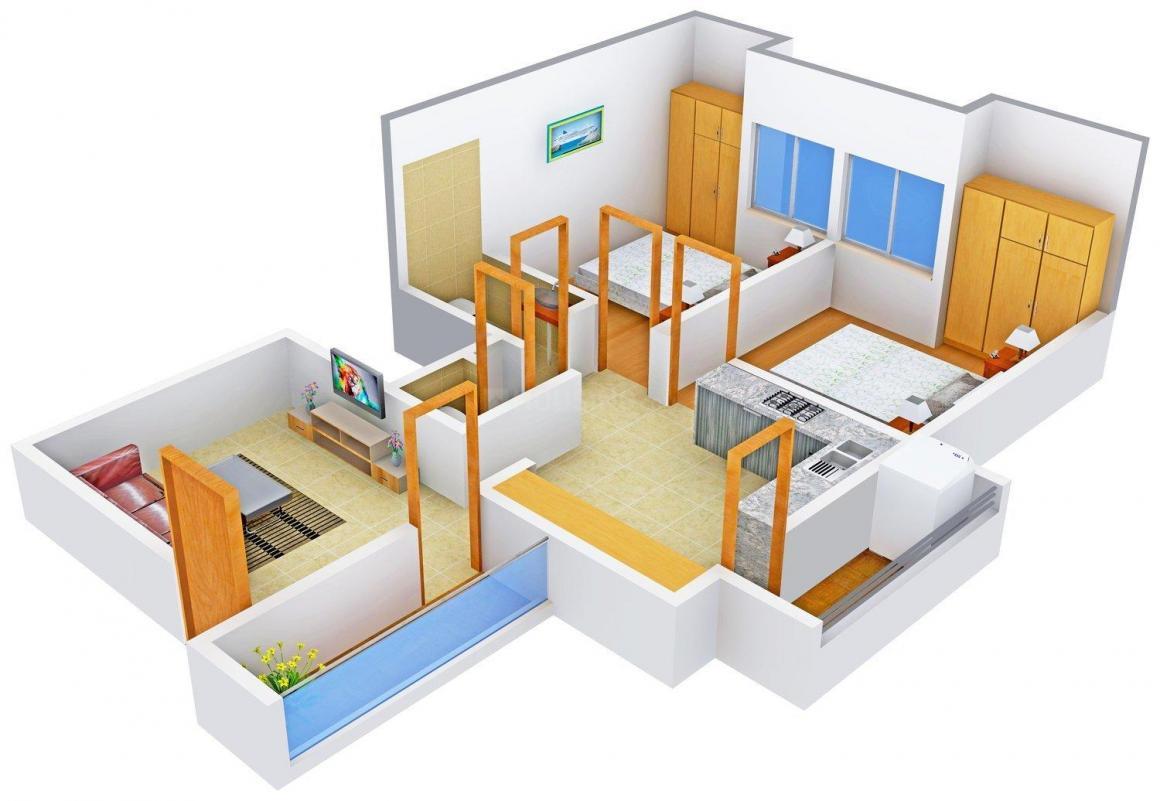 Floor Plan Image of 887 - 998 Sq.ft 2 BHK Apartment for buy in New Sarthak Vastu Vihar