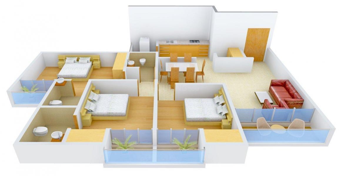 Floor Plan Image of 0 - 2000 Sq.ft 3 BHK Villa for buy in Horizon Dwellings Royal Floors