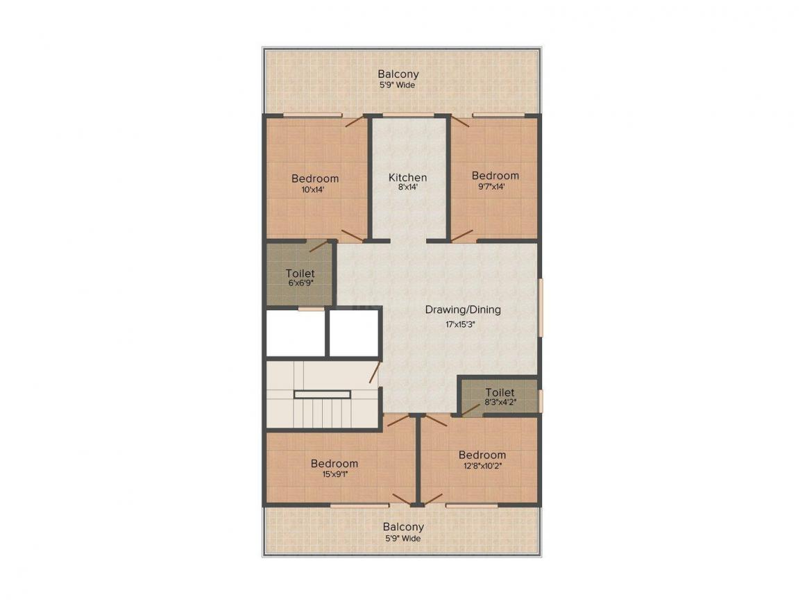Ganpati Homes - 4 Floor Plan: 4 BHK Unit with Built up area of 2200 sq.ft 1