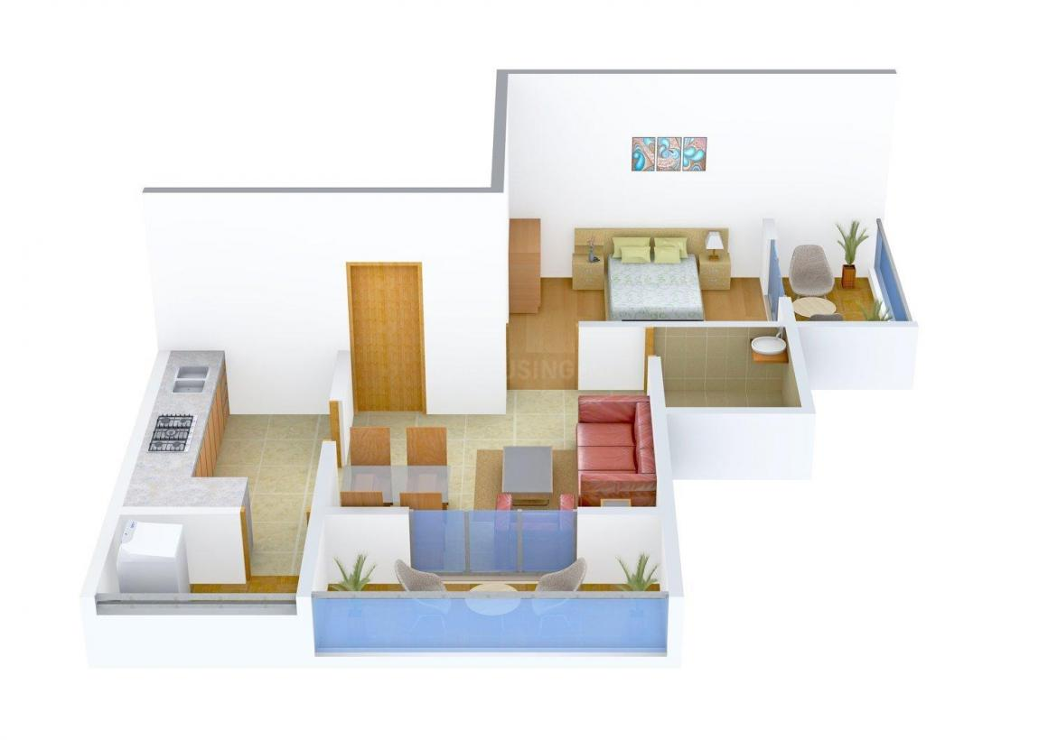 Floor Plan Image of 517.0 - 667.0 Sq.ft 1 BHK Apartment for buy in Shantilal Pratham Apartments