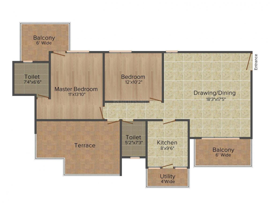 Orris The Blue Lagoon Floor Plan: 2 BHK Unit with Built up area of 1605 sq.ft 1